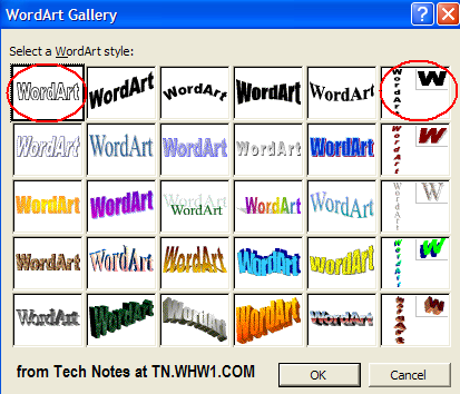 MS Word WordArt Gallery Window