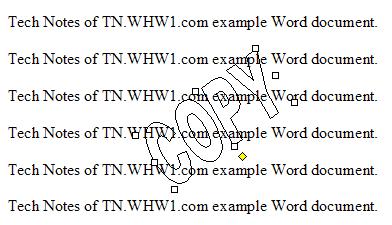 WordArt After Text Format Set To Behind.