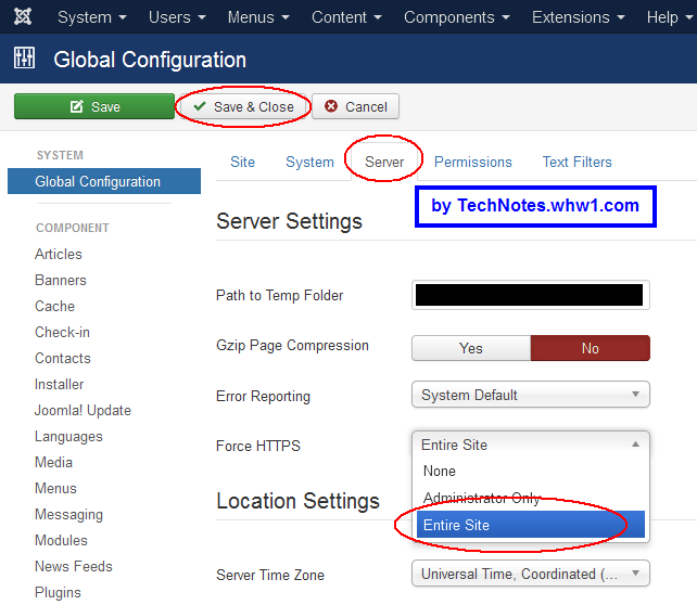 Entire Site selected on Force HTTPS menu within Server tab of System Global Config