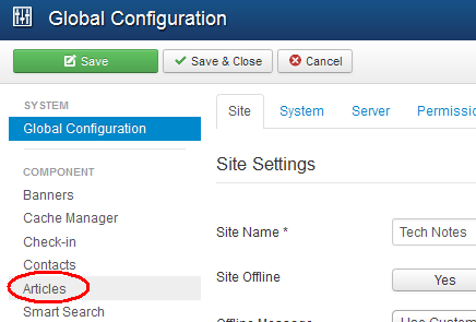 Select Articles from the Joomla Global Configuration menu.  From TechNotes.whw1.com.