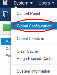 Select Global Configuration from System menu at top