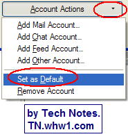 Thunderbird Account Settings Account Actions button with Set As Default selected.