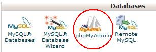 Cpanel Database section with PHPMyAdmin circled.