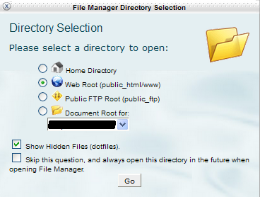 File Manager Directory Selection With Show Hidden Files Checked And Web Root Selected.