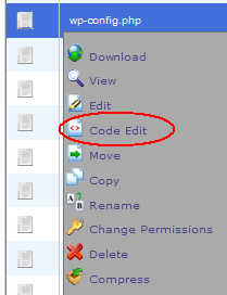 File Manager Right Mouse Click Menu.