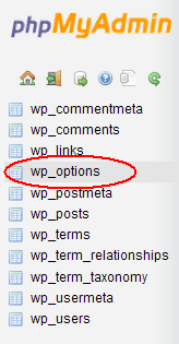 PhpMyAdmin Listing WordPress Database Tables With wp_options circled.